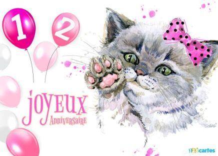carte anniversaire 12 ans dessin chaton