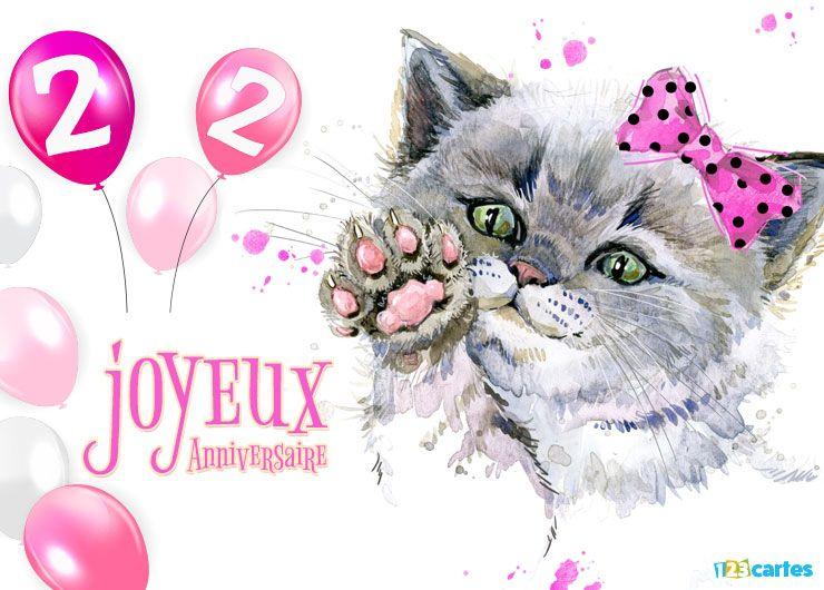 16 Cartes Joyeux Anniversaire âge 22 Ans Gratuits 123 Cartes