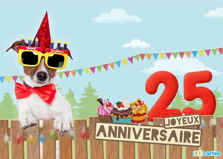 16 Cartes Joyeux Anniversaire Age 25 Ans Gratuits 123 Cartes