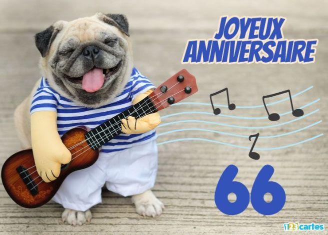 carte joyeux anniversaire 66 ans le chien à la guitare