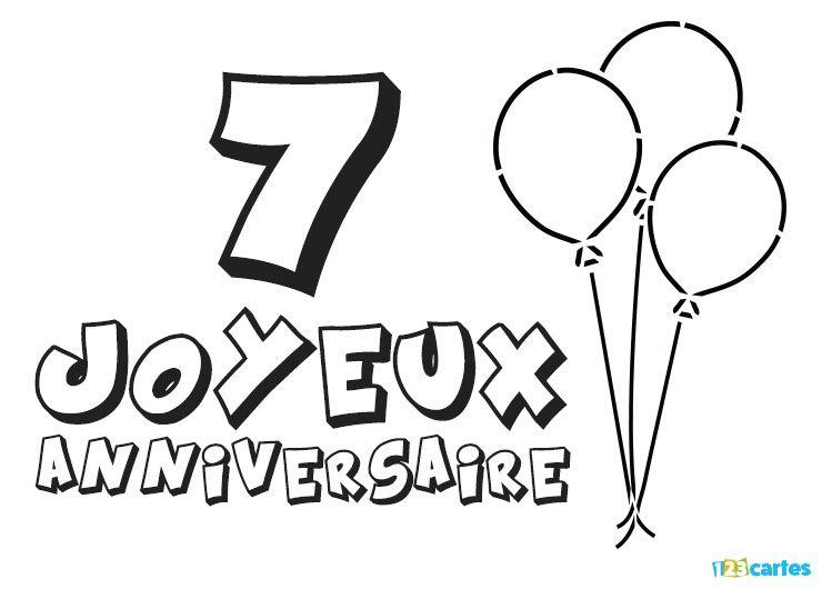 Coloriage Anniversaire 7 Ans.16 Cartes Joyeux Anniversaire Age 7 Ans Gratuits 123 Cartes