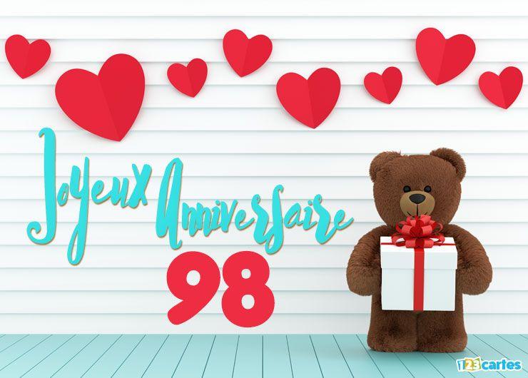 16 Cartes Joyeux Anniversaire Age 98 Ans Gratuits 123 Cartes