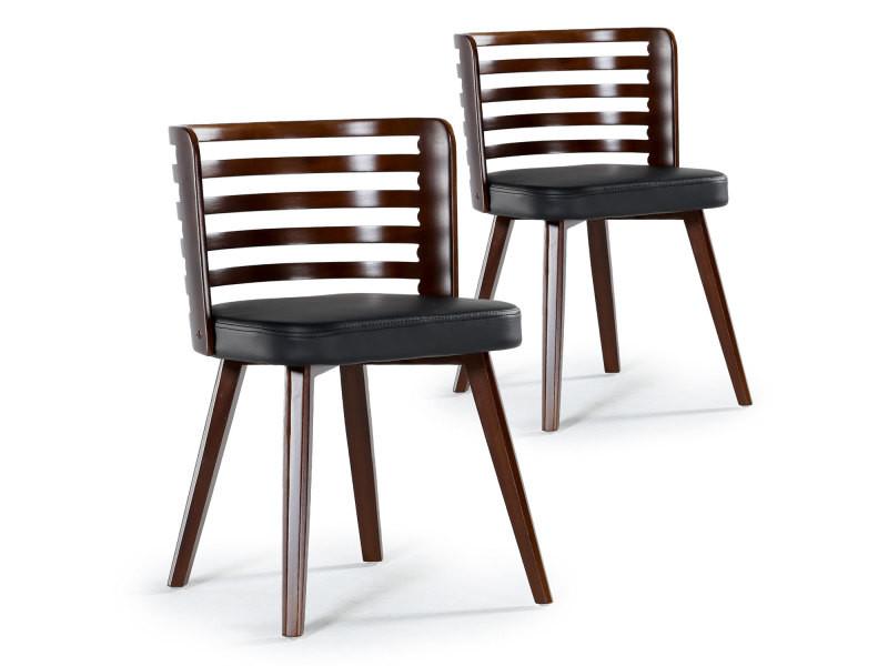 lot de 2 chaises scandinave koxy bois noisette et noir