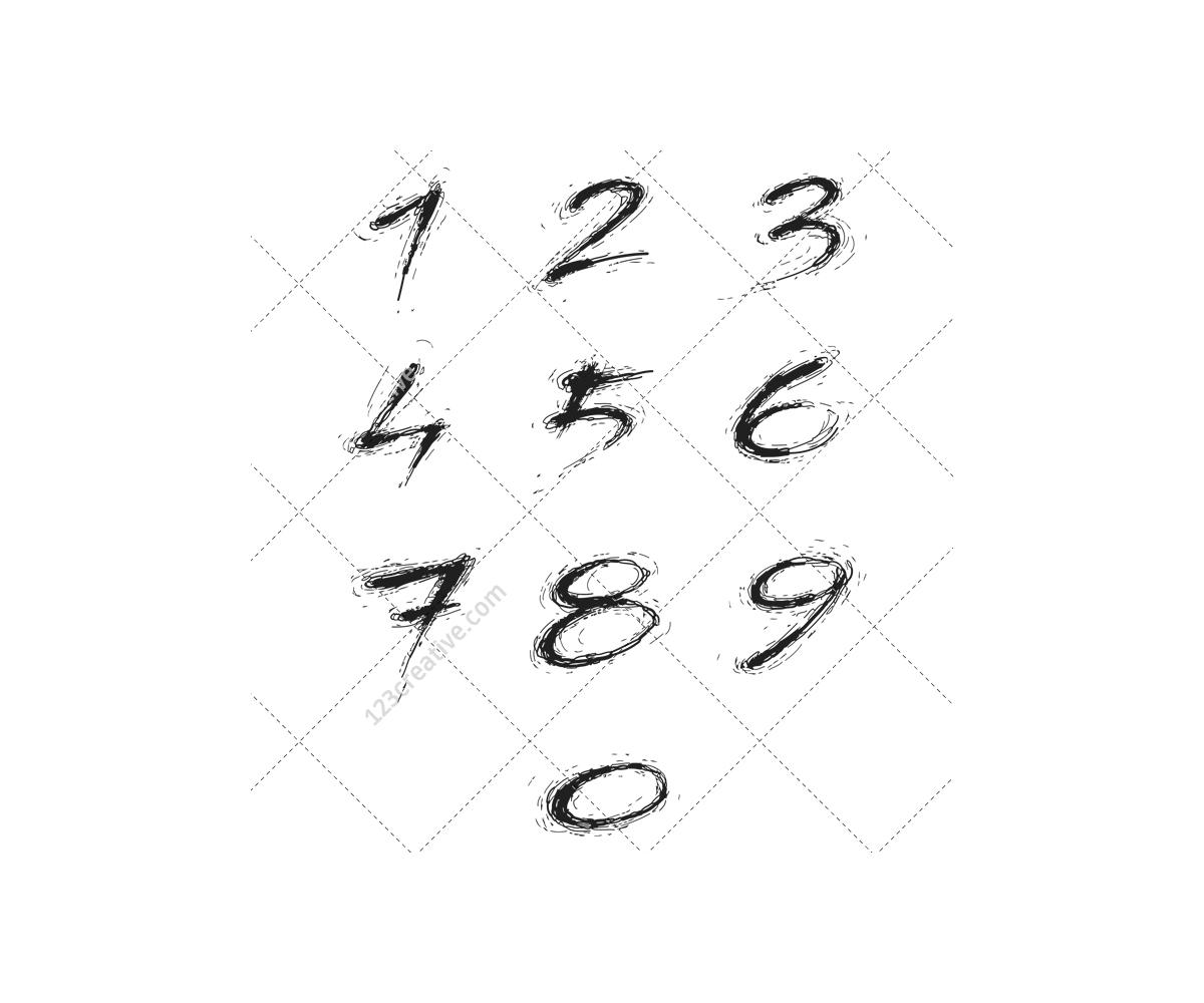 Grunge Alphabet Vector Pack Commercial Destroy Worn Handwritten Bol Thin Eroded Alphabet Type Abc Number Vectors