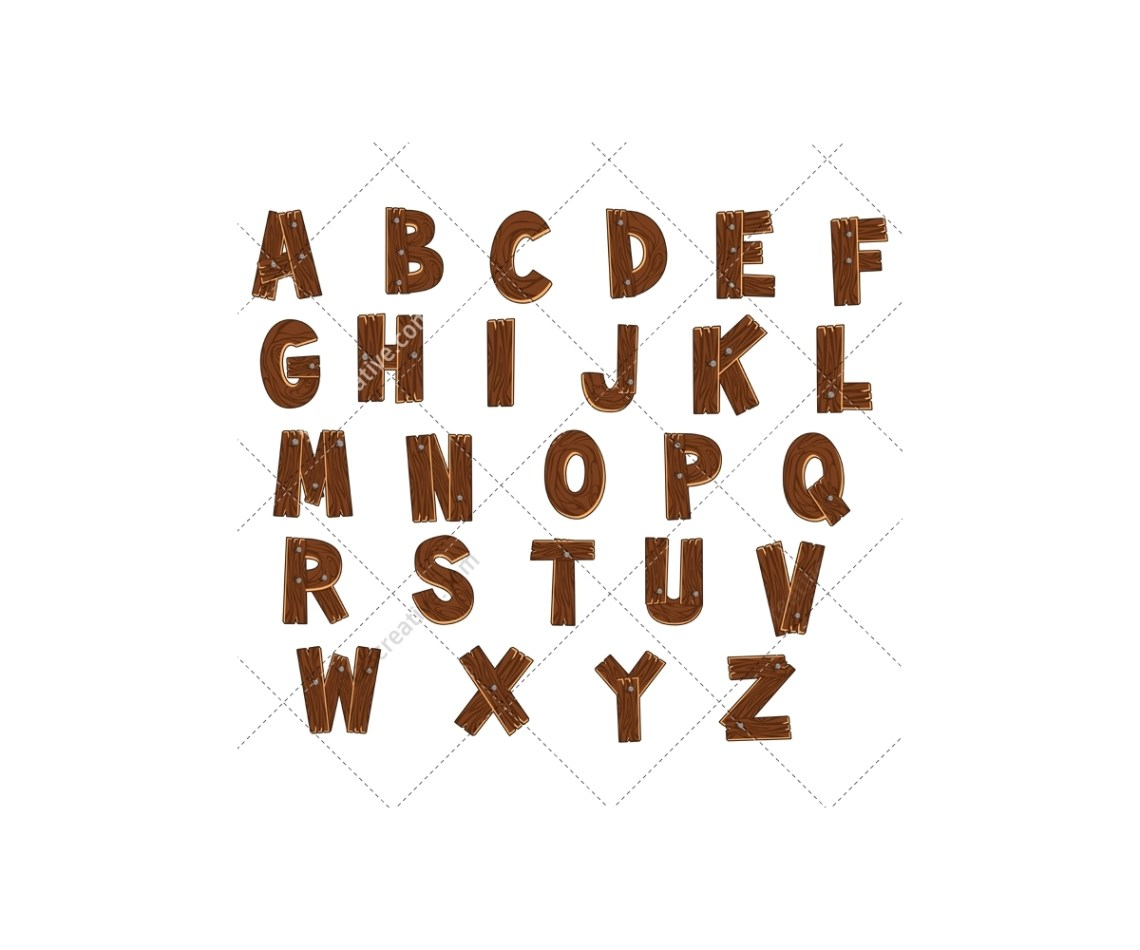 Download Wooden alphabet vector pack - royalty free (font, abc ...