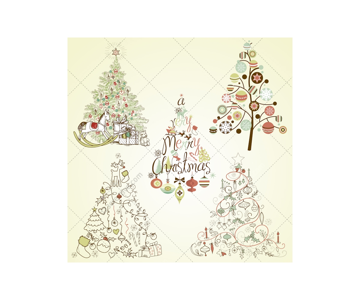 Christmas Tree Vector Collection Buy Vector Pack Full Of