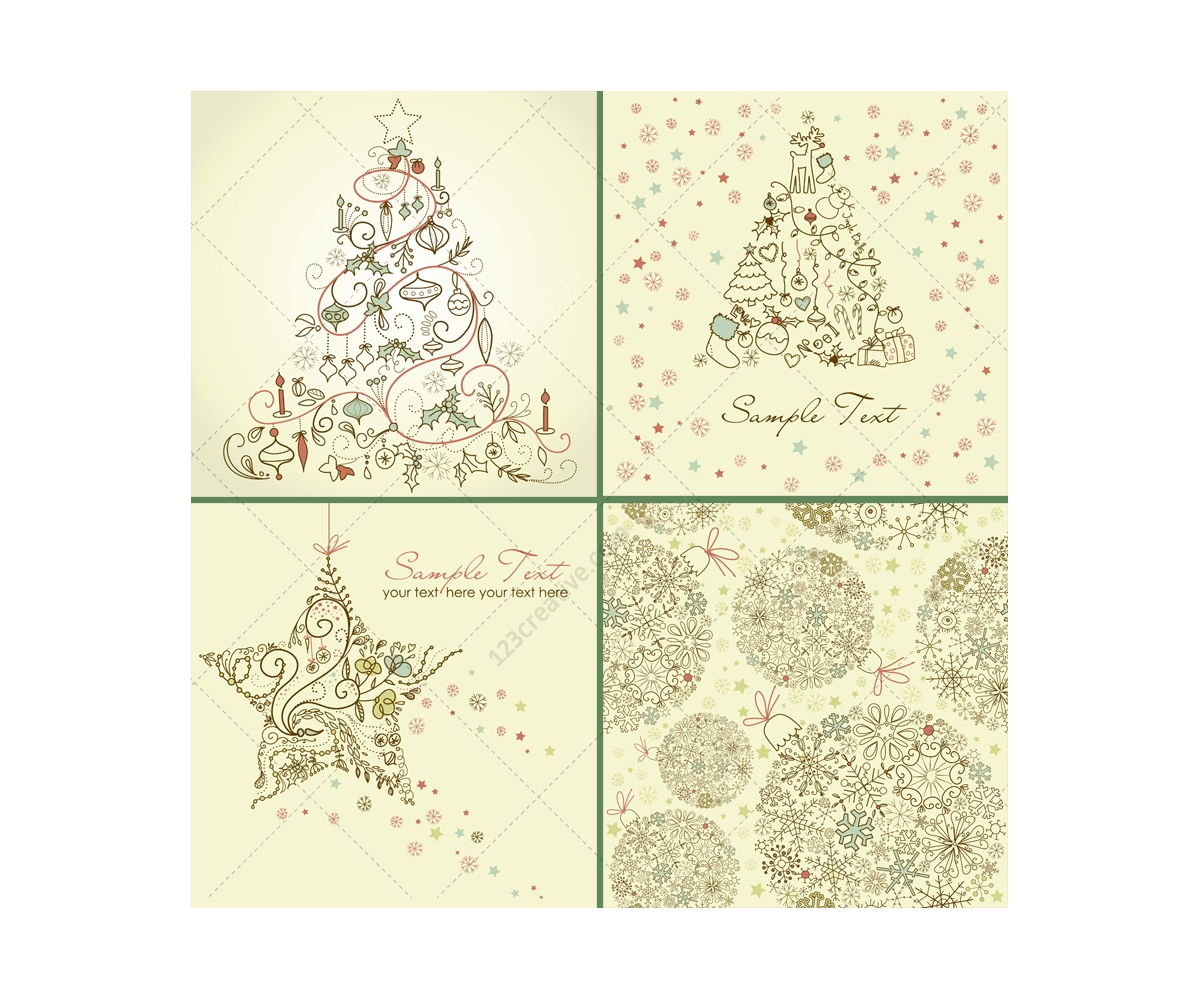 Hand Drawn Christmas Vector Collection Consists Of Hand