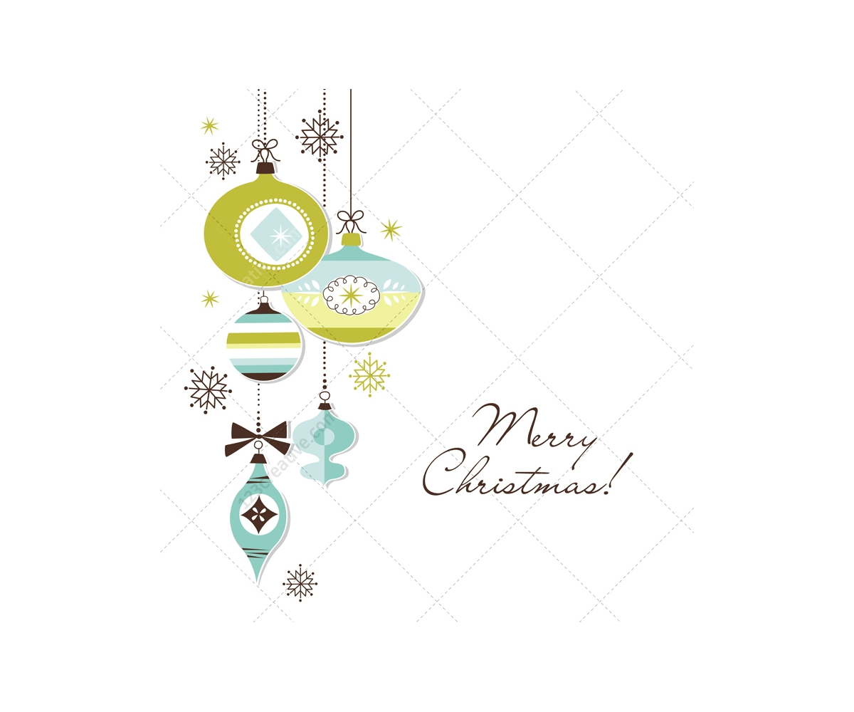 4 Christmas Vector Card Illustrations Green Collection