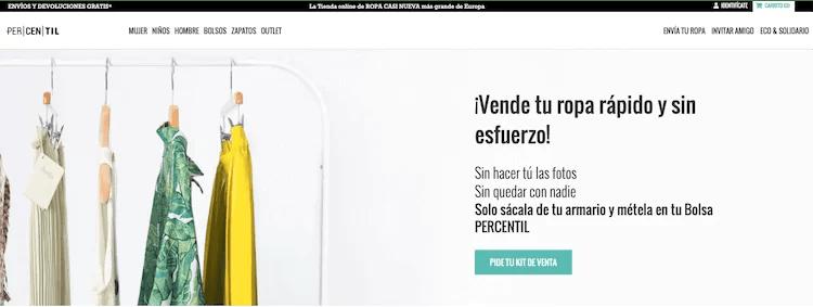 Percentil venta de ropa por internet