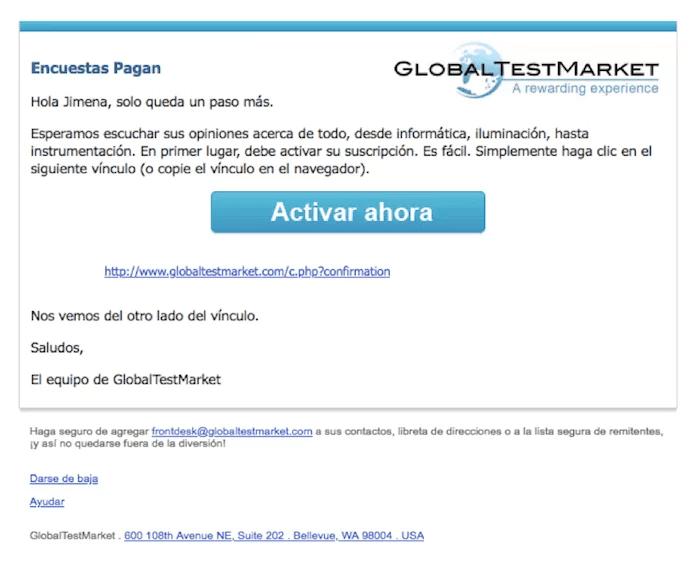 globaltestmarket activar cuenta