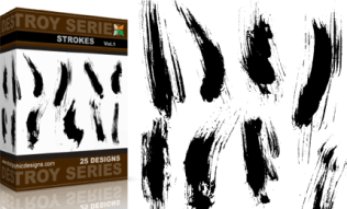 Vol.1 : Grunge Destroy Strokes Vectors