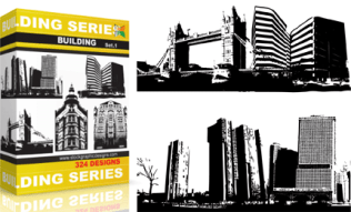 Buildings Vector & Brush Pack Set.1