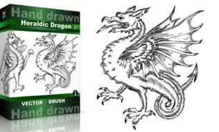 Heraldic Series : Hand Drawn Dragon