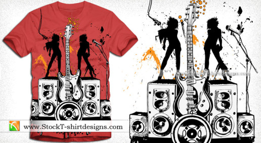 Party Girls with Loudspeaker and Guitar Vector Tee Design Illustration