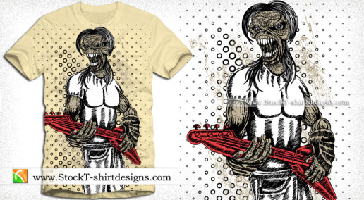 Demon Man with Music Guitar Vector T-shirt Design