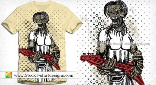 Demon Man with Music Guitar Vector T-shirt Design
