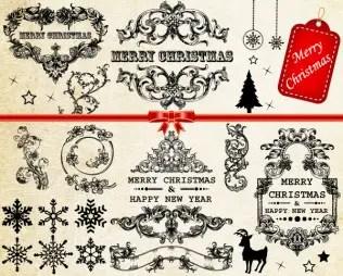 Vector Christmas Decoration Frames & Floral Elements