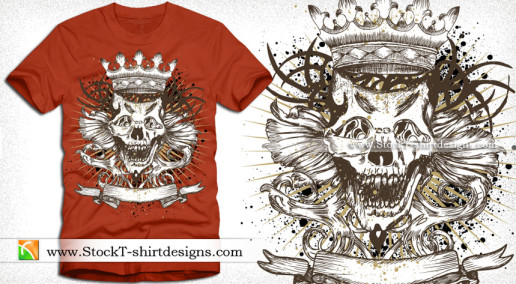 Vector T-shirt Design with Skull Crown and Ribbon
