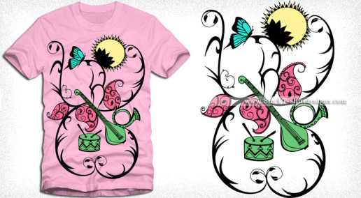 Vector Floral Music T-shirt Design