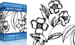 Sketchy Flowers Set.1 | Vol : 4