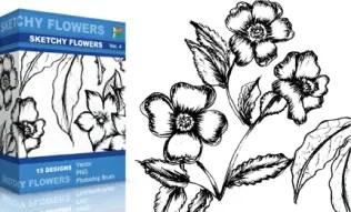 Sketchy Flowers Set.1 | Vol : 4