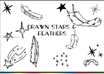 Drawn Feathers and Stars