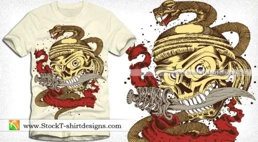 Skull with Snake Vector T-shirt Design