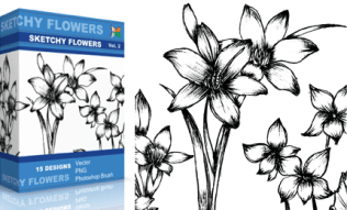 Sketchy Flowers Set.1 | Vol : 2