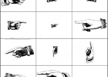 Hand Gestures – Pointing Hand Photoshop Brushes