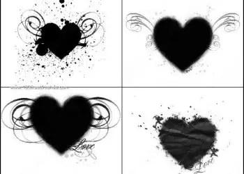 Love Heart with Grunge Splatters – Swirl Brushes