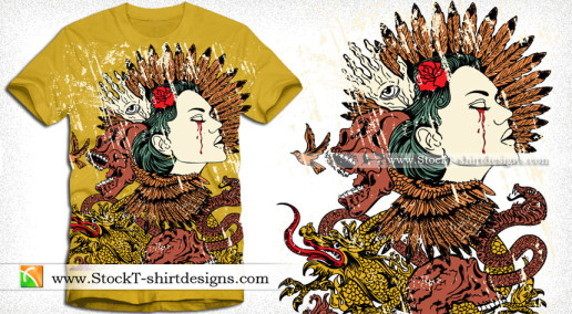 Vintage T-shirt Design with Woman Skull Snake and Dragon