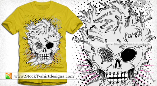 vector Skull with Floral Vintage T-shirt Design