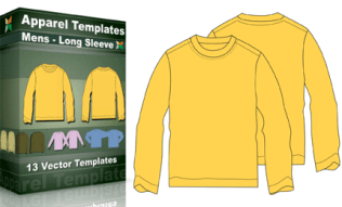 T-Shirt Templates : Mens Basic Long Sleeve
