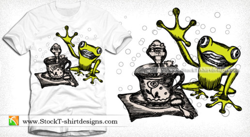 Vector Illustration Cartoon Frog T-shirt Design