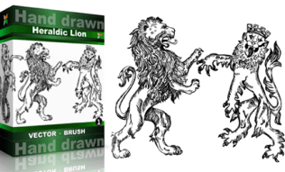 Heraldic Series : Hand Drawn Lion