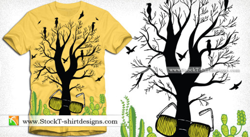 Vector Tree with Eyeglass Apparel T-shirt Design Illustration