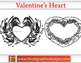 Valentines Heart Vector and Photoshop Brush