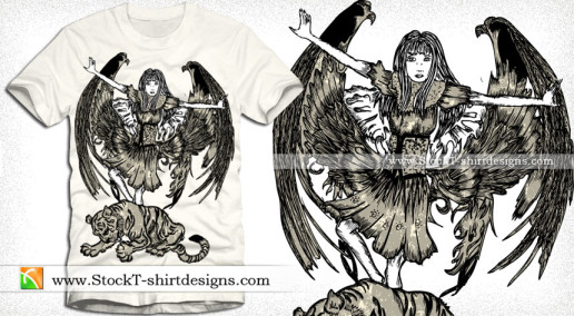 Vector T-shirt Designs with Winged Girl and Tiger