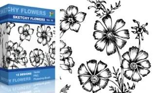 Sketchy Flowers Set.1 | Vol : 10