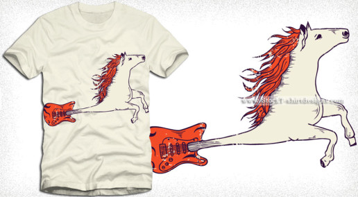Flying Horse Guitar Vector T-shirt Design