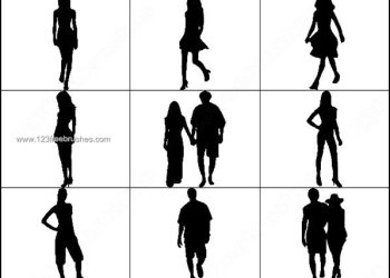 Young Girls – Man – Couple Silhouettes Brushes