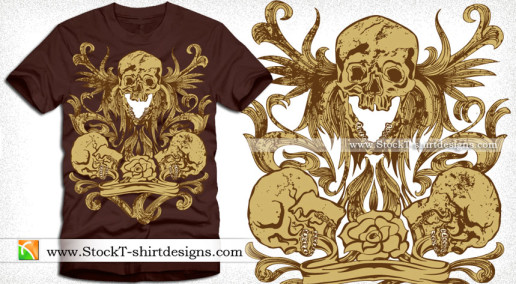 Vintage Skull Vector T-shirt Design