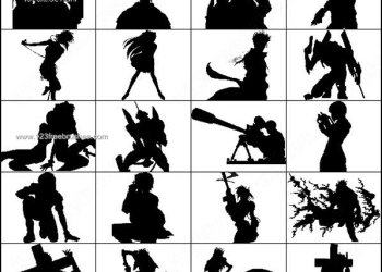 Anime and Manga Silhouettes Brush Pack