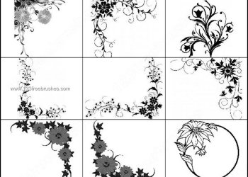 Floral Corner Decorative Brushes