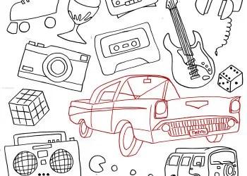 Retro Line Art Radio – Car – Camera