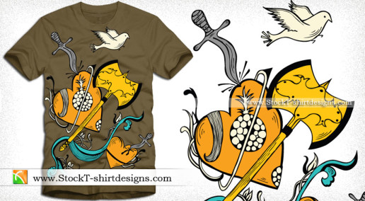 Vector T-shirt Design with Heart Flying Bird Knife and Axe
