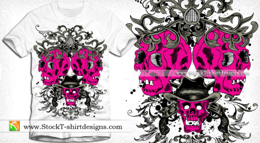 vector T-shirt Design Graphics with Skulls and Floral