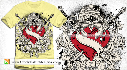 Heart with Floral and Ribbon Vector Tee Design