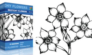 Sketchy Flowers Set.1 | Vol : 6