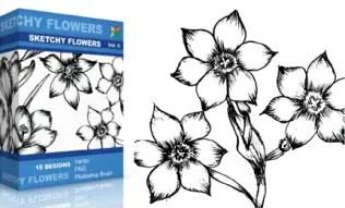 Sketchy Flowers Set.1 | Vol : 6